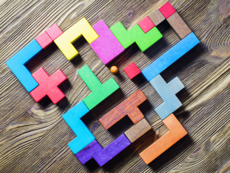 Labyrinth of colorful wooden blocks, tetris