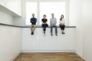 Project team for the Swiss Pavilion at the 16th International Architecture Exhibition - La Biennale di Venezia, May 2018. Left to right, Alessandro Bosshard, Li Tavor, Matthew van der Ploeg and Ani Vihervaara. Photo: Christian Beutler / KEYSTONE