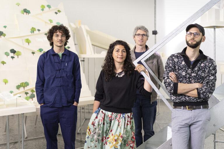 Project team for the Swiss Pavilion 2021. Left to right: Mounir Ayoub, Vanessa Lacaille, Fabrice Aragno and Pierre Szczepski. Photo: KEYSTONE/Gaëtan Bally